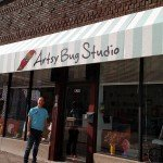 Building awning sign for Artsy Bug Studio Moline, IL