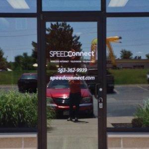 Company Glass Door Lettering for SpeedConnect in Davenport, Iowa