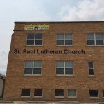 Outdoor business sign on the side of the building designed and installed for St. Paul Lutheran Church (Clinton, IA)