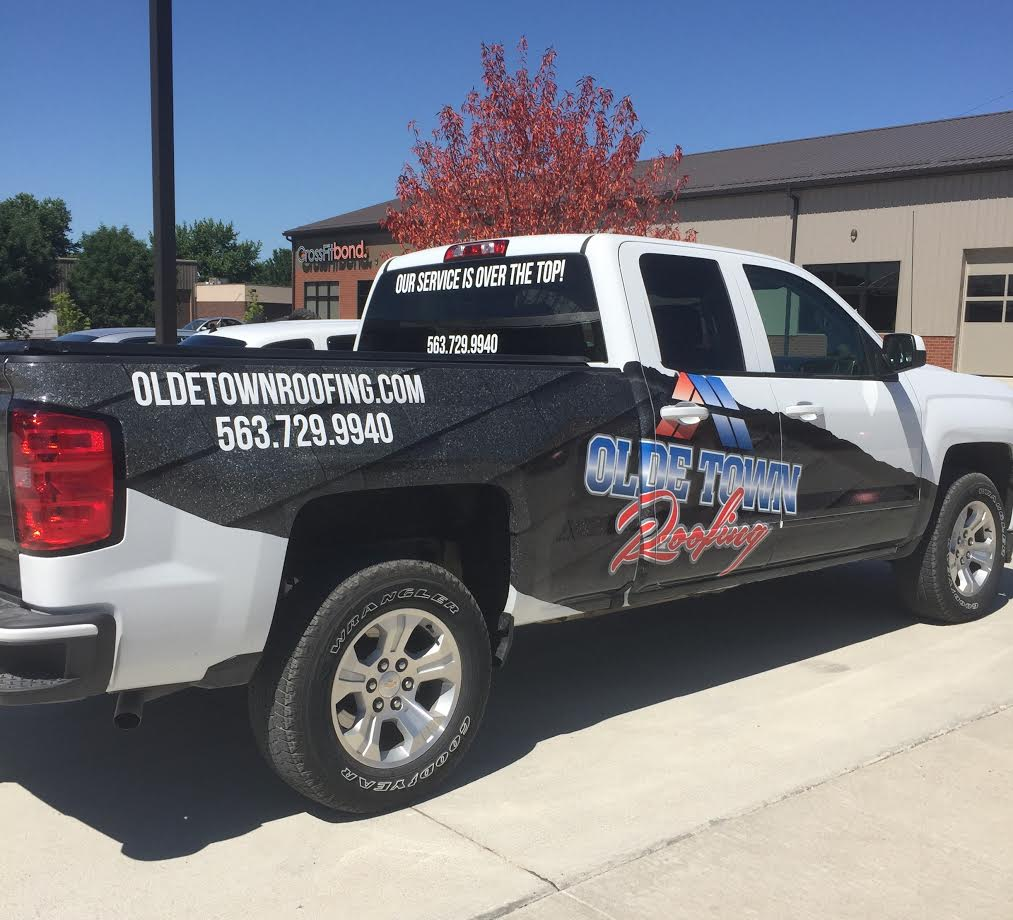 Truck Graphic Design and Auto Wrap for Olde Town Roofing in Moline, IL