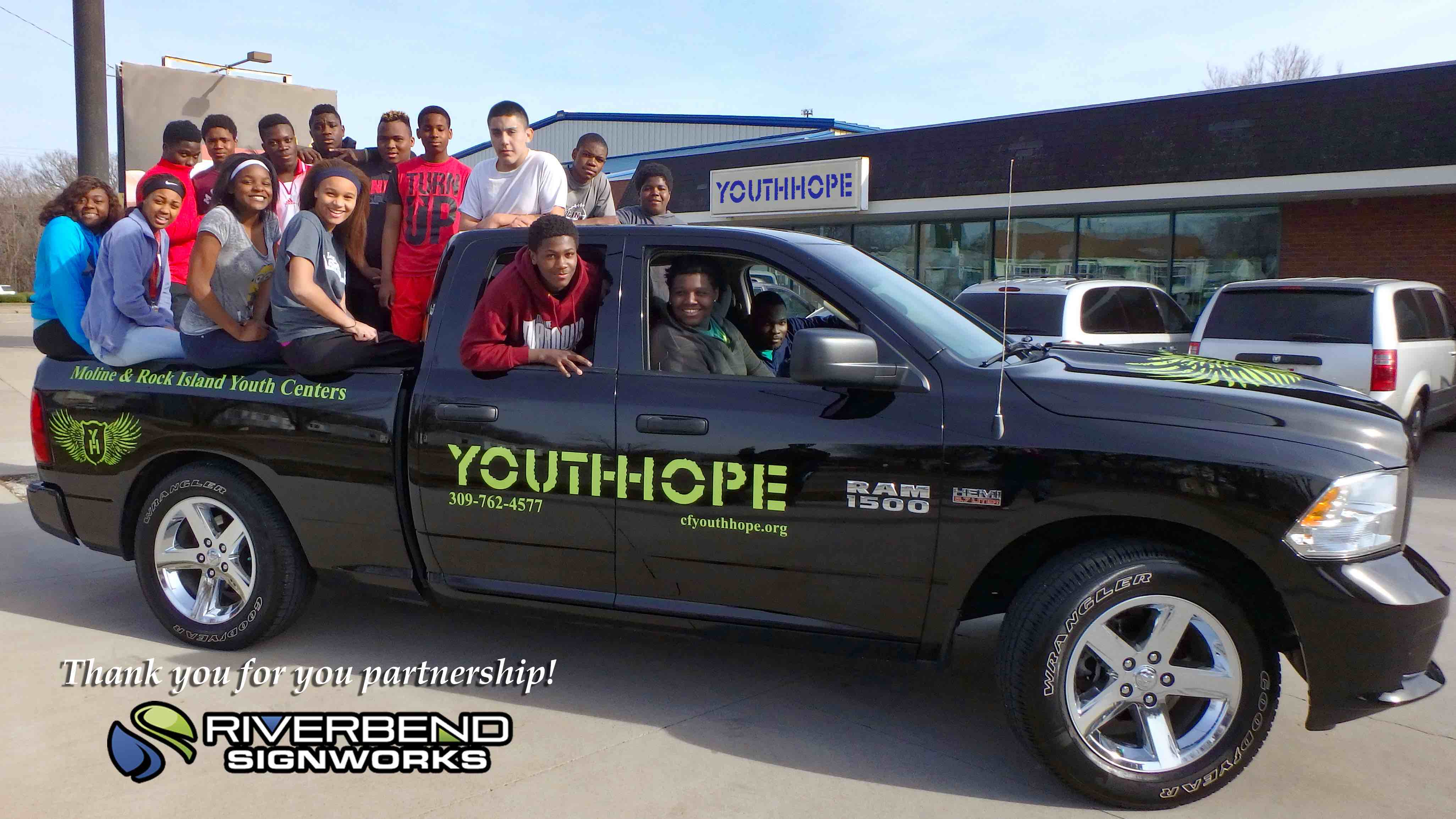 Truck Graphics and Lettering for YouthHope in Moline, Illinois