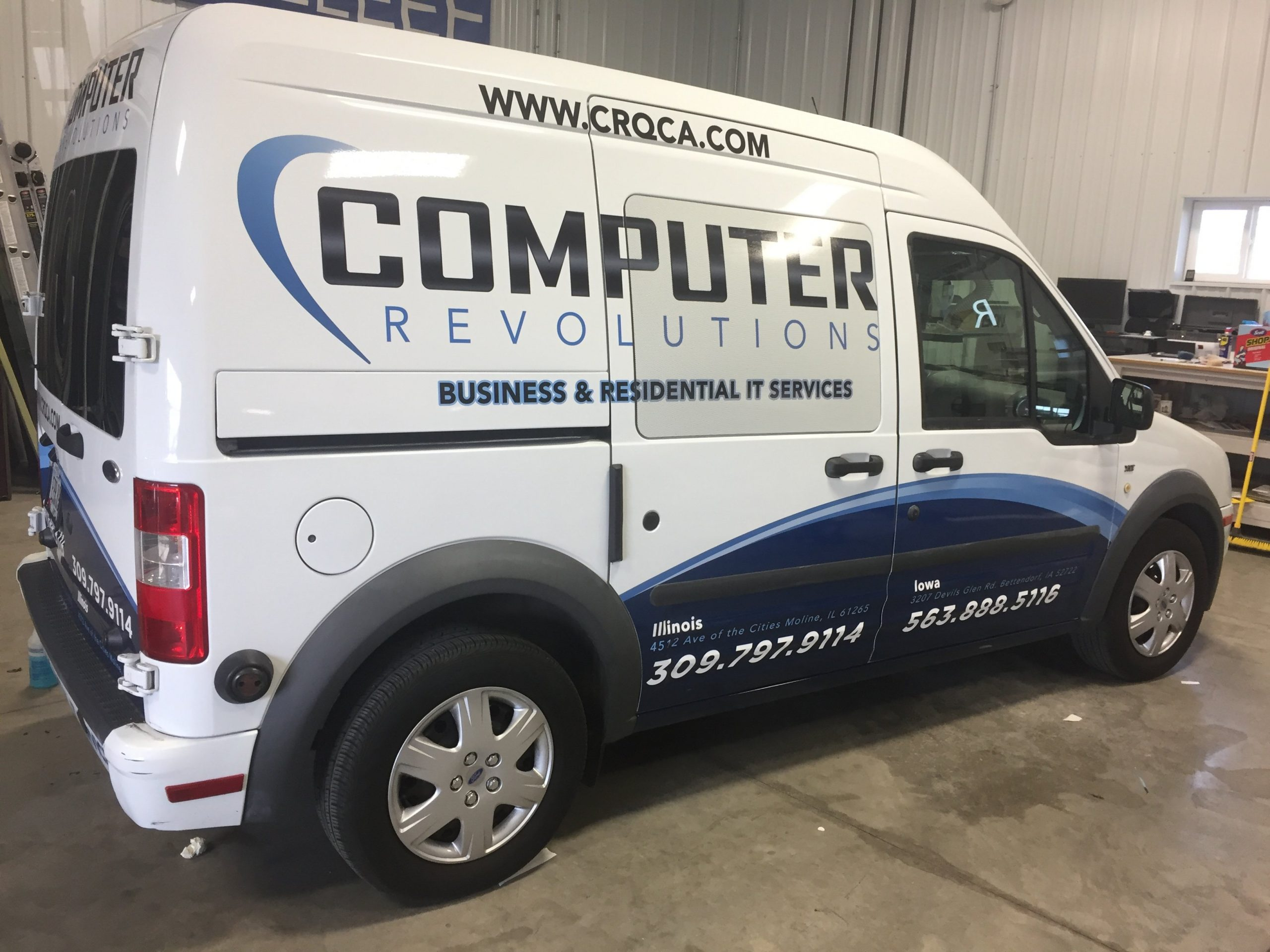 Van vehicle wrap for Computer Revolutions in Bettendorf and East Moline