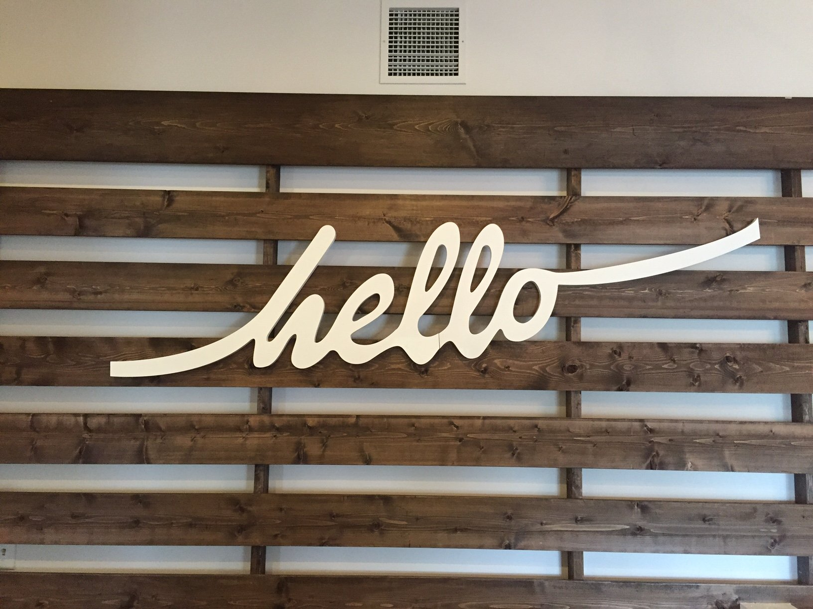 Hello Sign (indoors)