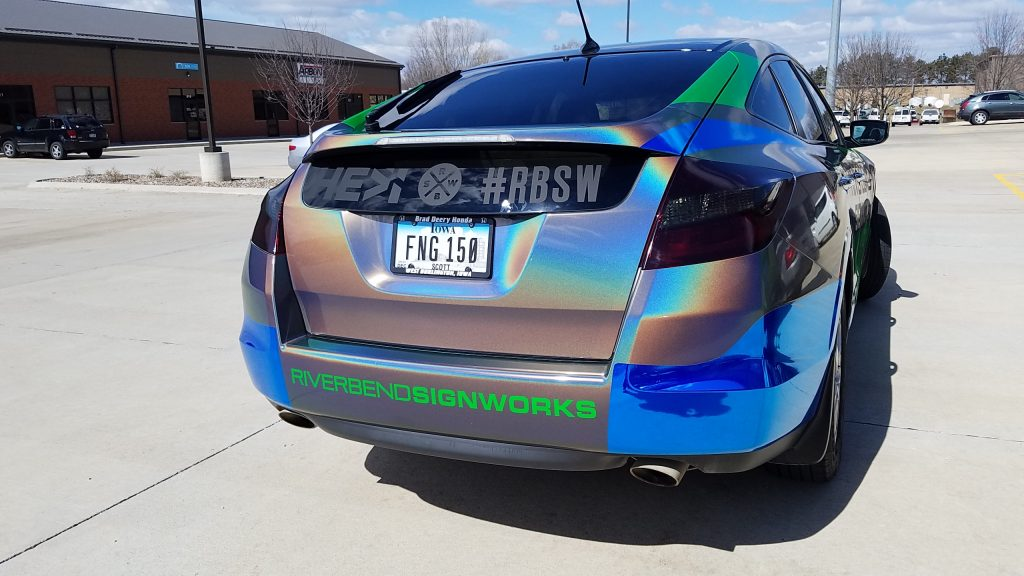 Back of iridescent car wrap for Riverbend Signworks in Iowa and Illinois