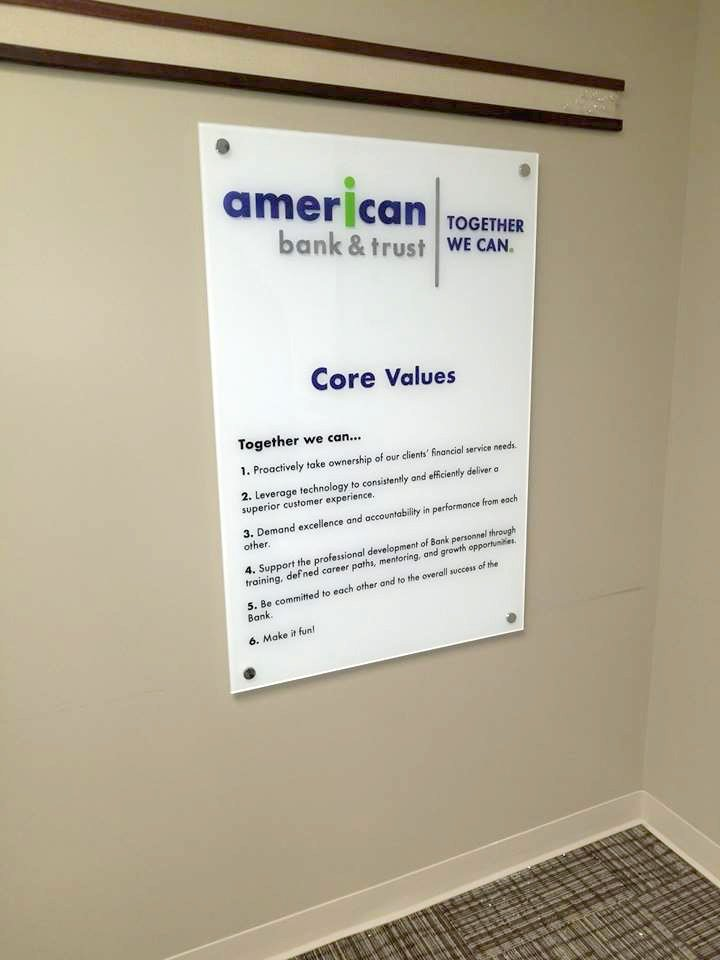 2D graphics on acrylic with standoffs (american bank and trust)
