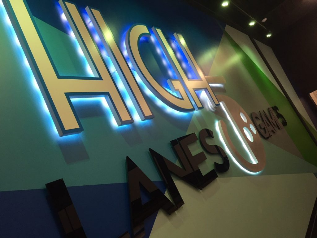 Illuminated Custom Logo Lobby Sign (high 5 lanes and games) Acrylic and LED