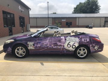 Right side of the Route 66 car wrap for Michael Angelo